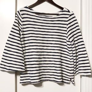 Navy + White Striped Chunky Wide Sleeved Blouse